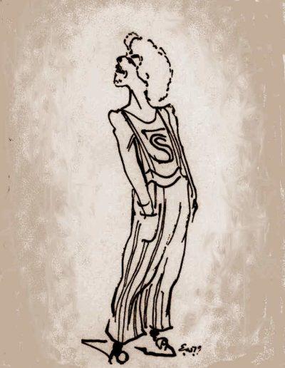 """Jesus i """"Godspell ´80 . Tegning Erik Werner"""